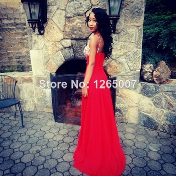 Aliexpress.com : Buy Halter Keyhole Front Beaded Open Back Chiffon A Line Prom Dresses Pargent Fashion Gowns Sexy from Reliable dress care suppliers on SFBridal