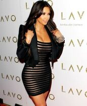 dress,bandage,golde black,kim kardashian,striped dress,blouse,strip,bodycon,jacket,kim kardashian dress,black dress