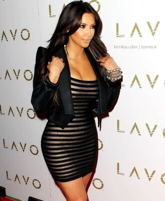 dress bandage golde black kim kardashian striped dress blouse strip bodycon jacket kim kardashian dress black dress