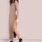 Leg slit button up maxi rib knit dress mocha -shein(sheinside)