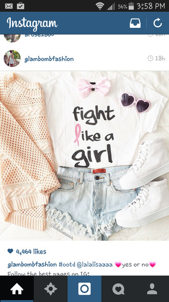 shirt girl girly cute t-shirt ripped jeans ripped shorts quote on it love quotes cardigan bows hair bow sunglasses heart heart sunglasses pink heart sunglasses pink hearts stand up for cancer cancer t-shirts cancer tees cancer ribbon tees cute top cute shorts sweater style shoes shorts white converse converse high top converse
