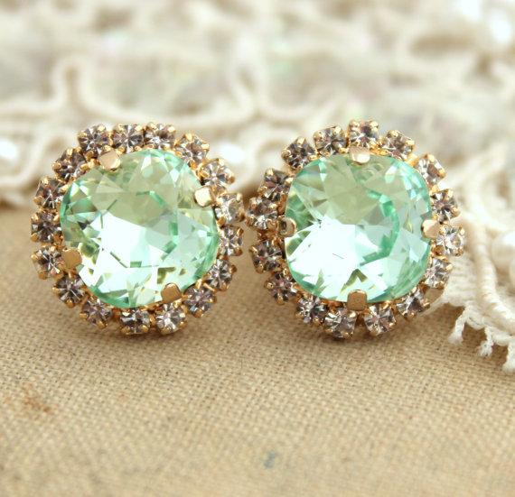 Klaren Mint grün Seafoam Crystal PetiteVintageOhrring von iloniti