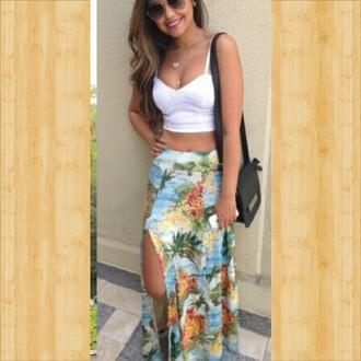 skirt maxi skirt slit maxi skirt fashion style hawaiian