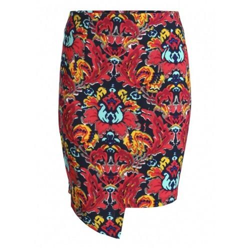 Gerri Floral Zip Asymmetrical Skirt by Frocksville
