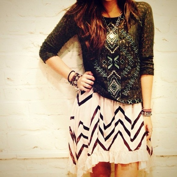 aztec navajo skirt boho sweater green freepeople aztec sweater
