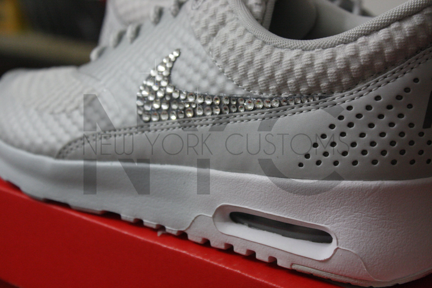 Nike Air Max Thea Light Base Grey Swarovski Crystal Accent Blinged ... 7e3a81aa2f9b