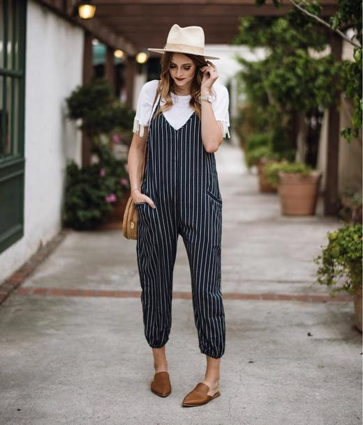 9dc7d1ef545a jumpsuit tumblr stripes striped jumpsuit t-shirt white t-shirt mules shoes  brown shoes