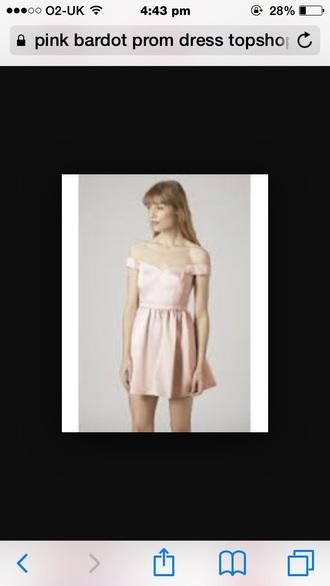 dress girl retail shoo shop peach pink bardot pretty link prom topshop