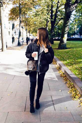 bag tumblr mini backpack backpack louis vuitton backpack jacket black jacket jeans white jeans black boots over the knee boots bag accessoires