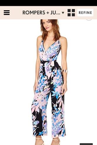 dress black pink light blue jumpsuit floral