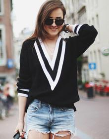 Black V Neck Long Sleeve Loose Boyfriend Sweater - Sheinside.com