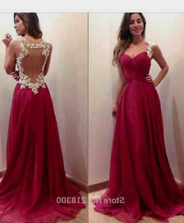 Aliexpress.com : Buy Burgundy Backless Chiffon Prom Dresses with ...