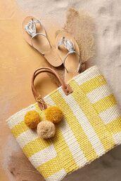 bag,pompom bag,basket bag,basket tote,pom poms,beach bag,yellow bag,pompom basket bag
