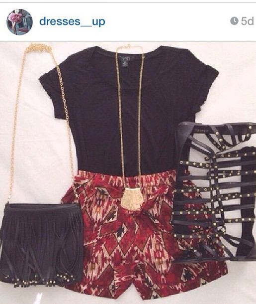 560ec44ed43 aztec aztec print shorts black crop top black black top gladiators sandals  shoes boho gypsy hippie