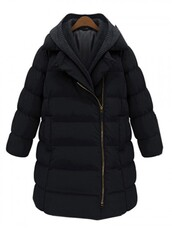coat,Choies,black,longline,parka,removable hood