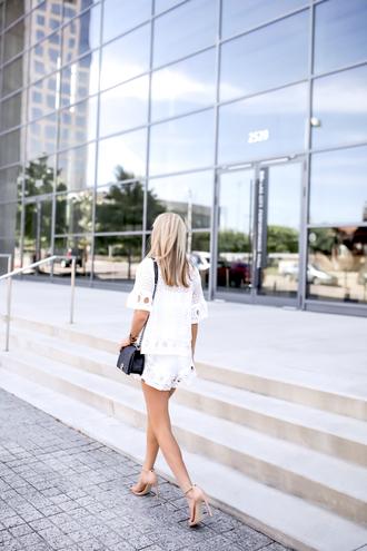 krystal schlegel blogger top shorts tank top shoes white shorts lace shorts white top lace top white lace top black bag mini bag