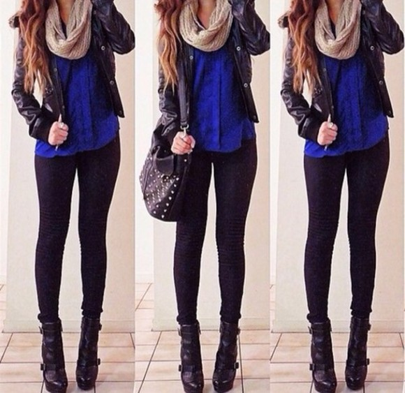 jacket black jacket bag scarf shirt pants shoes