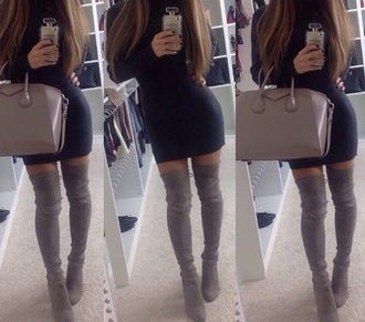 shoes over the knee high heels boots dress black dress
