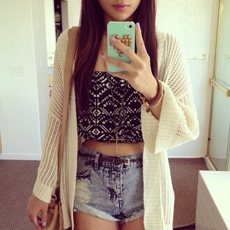 sweater shorts cardigan iphone shirt black white cream denim belt hair accessory aztec blouse bag nail polish