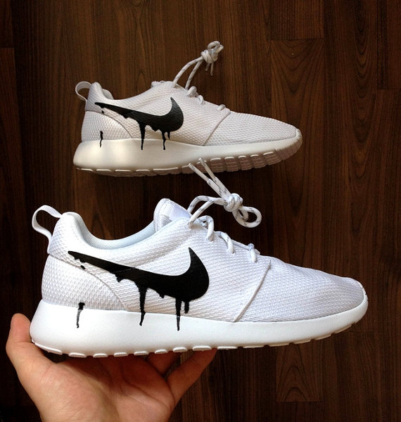 c3a45f87eb2d Nike Roshe Run One White with Custom Black Candy Drip Swoosh Paint