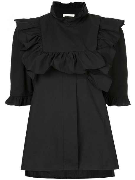 Lee Mathews top ruffle women cotton black