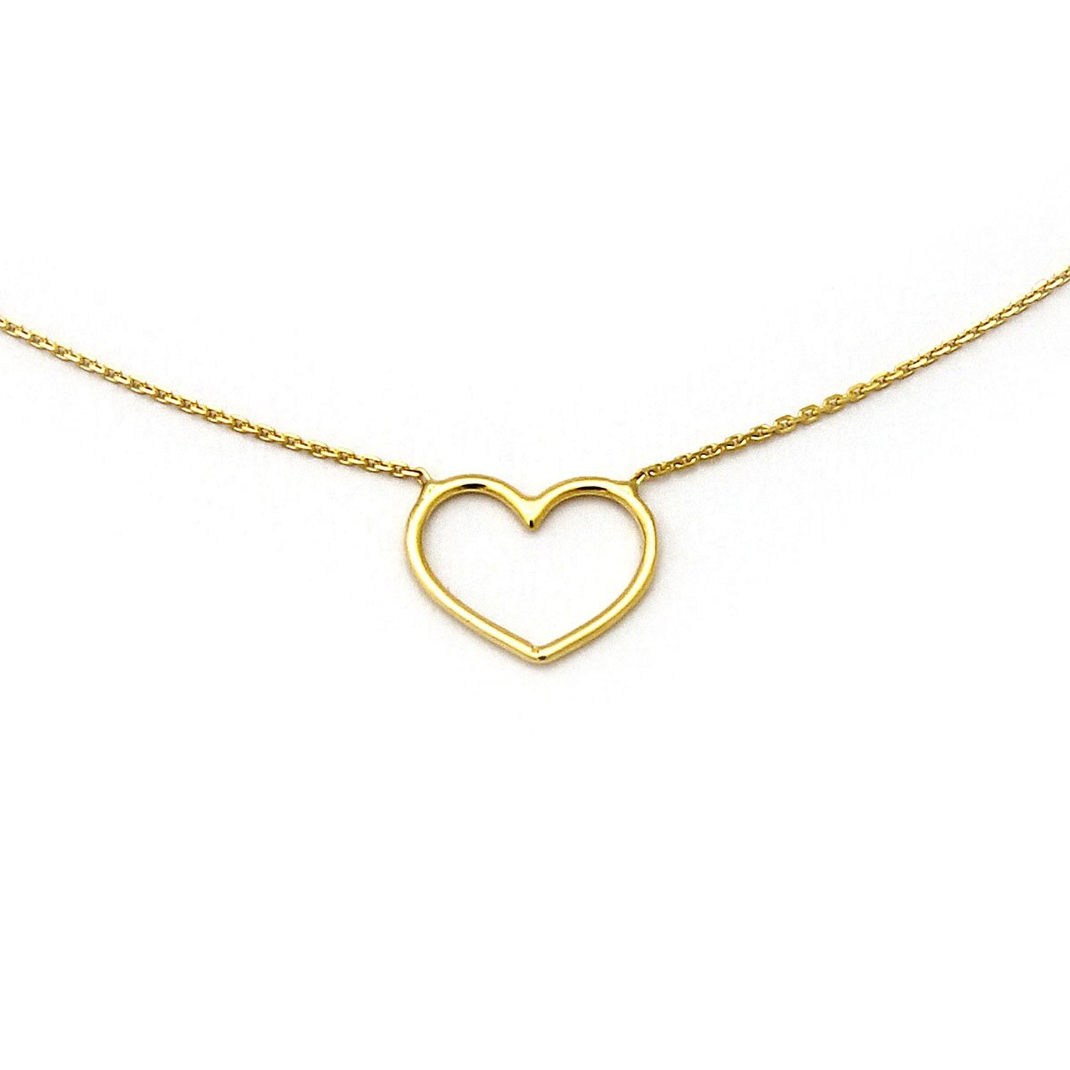 Amazon.com: 14k Yellow Solid Gold Sideways Open Heart Pendant 16