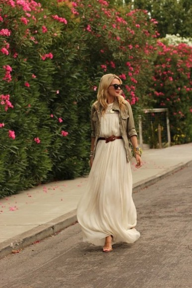 dress maxi dress crochet maxi dress white dress white maxi dress crochet neck white crochet dress flowy dress white flowy dress white clothes pink flowers street high heels belt army jacket flowing white dress