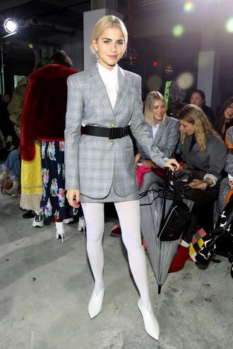 skirt caroline daur fashion week tights belt plaid ny fashion week 2018