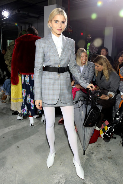 skirt caroline daur fashion week tights belt plaid ny fashion week 2018