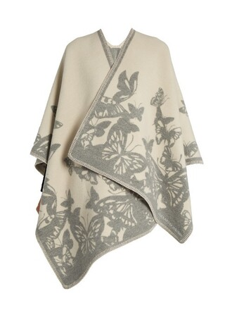 cape jacquard wool white grey top