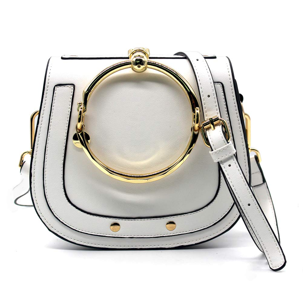 Women Punk Circular Ring Handle Handbags Small Round Purse Crossbody Bags for Girls (White): Handbags: Amazon.com