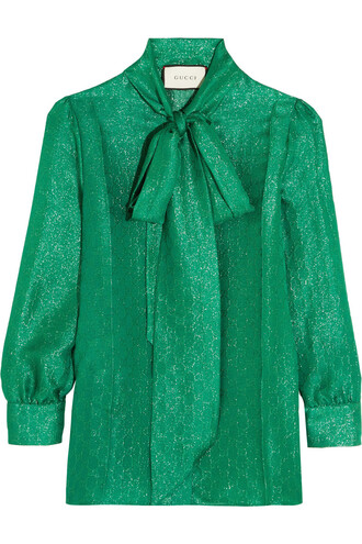 blouse bow metallic jacquard silk top