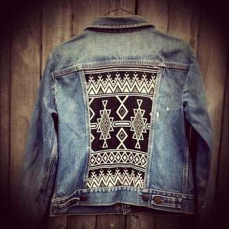 jacket native native american nativeamerican print denim jacket jeans blue black white pattern etnic boho hippie bohemian gypsy