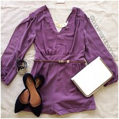pants,romper,purple romper,jumpsuit,purple