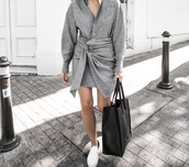 modern legacy,blogger,shirt,dress,bag,shoes,tote bag,grey dress