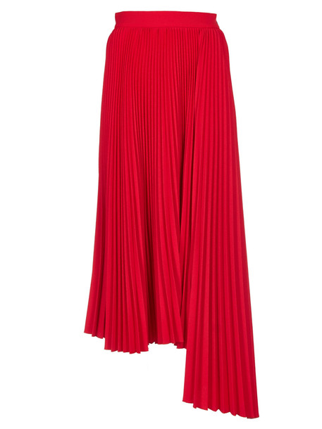 Msgm Pleated Asymmetric Skirt in red