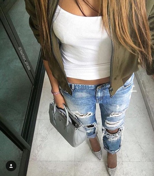 Jeans white crop tops ripped jeans faded white green coat - Wheretoget