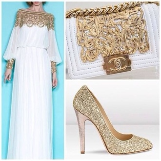 dress white dress wedding dress gold white beautiful white dress chanel chanel bag white chanel bag gold chanel bag