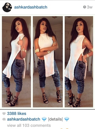 top slit top white edgy urban streetwear streetstyle ashkardashbatch shoes jeans
