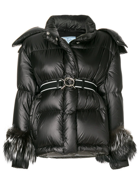 Prada jacket fur fox women black