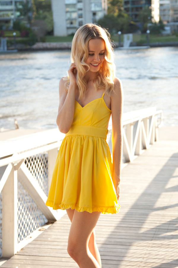 dress ask grace lady luck shopfashionavenue yellow skater dress ruffle hem backless tie up back cute summer spring graduation prom party