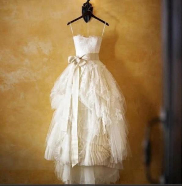 dress cream wedding wedding dress tattered lace beach look ruffle ribbon sash