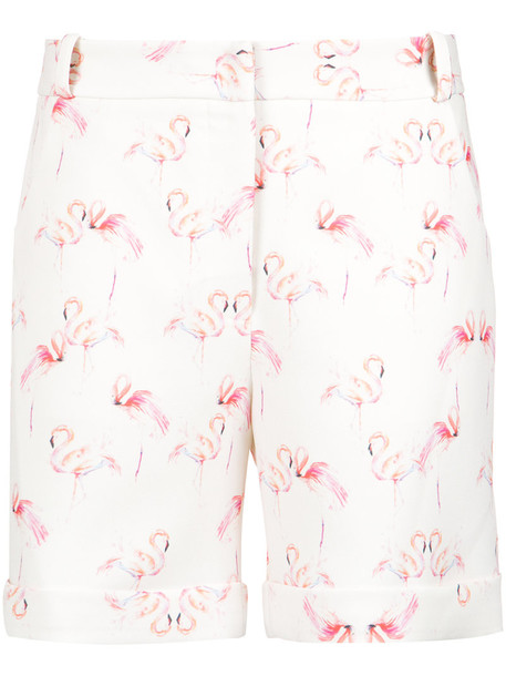 Olympiah shorts women flamingo spandex white print