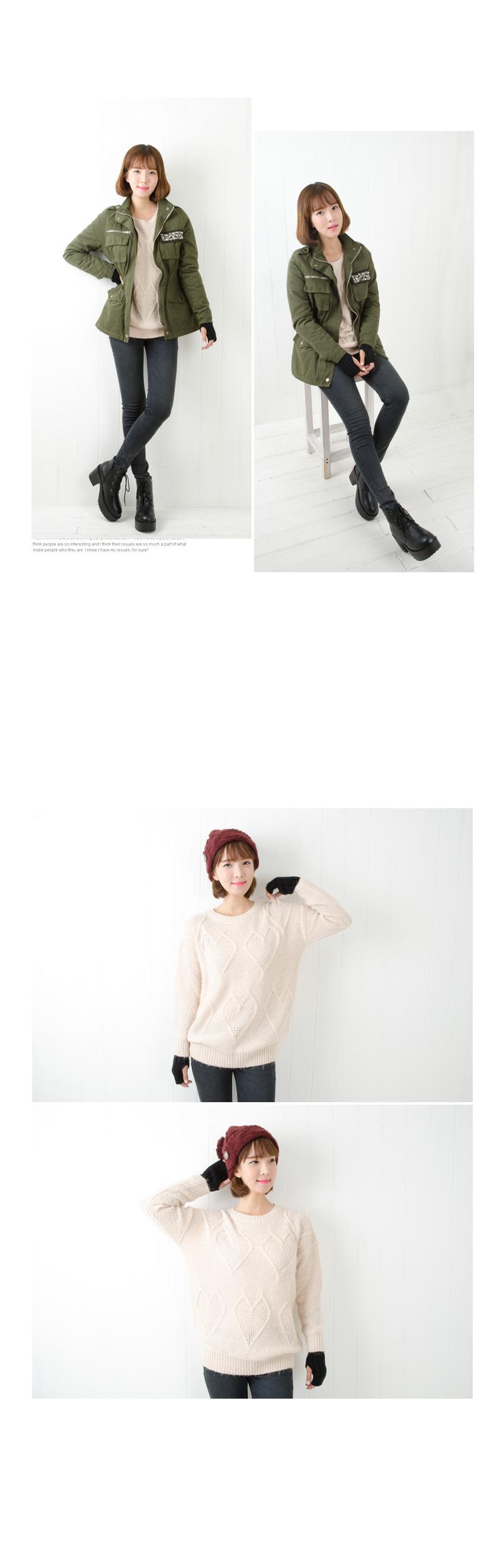 Heart-Pattern Knit Top , Beige , One Size - Cookie 7 | YESSTYLE Hong Kong