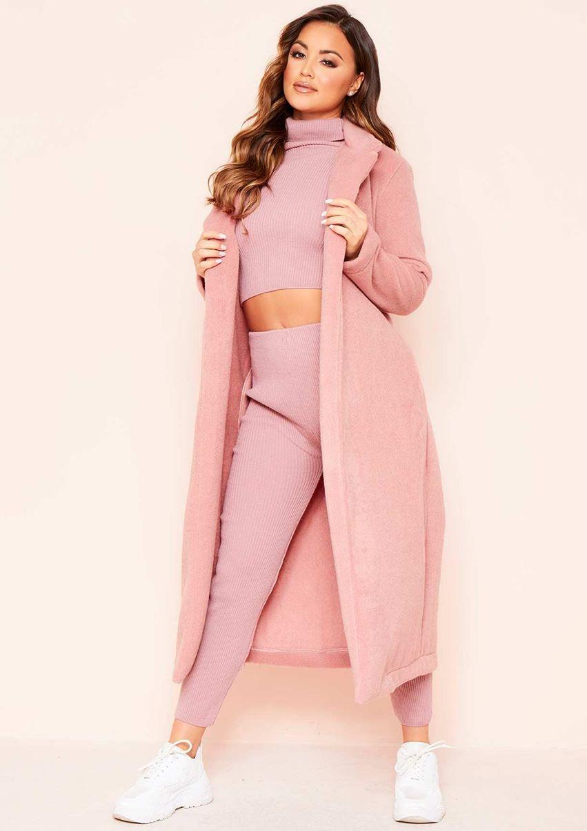 Avarel Pink Longline Belted Wool Coat