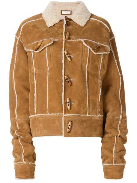 Saint Laurent jacket shearling jacket women brown