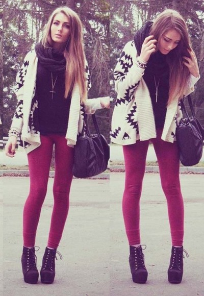 cardigan bag shoes scarff cross necklace high heels jacket