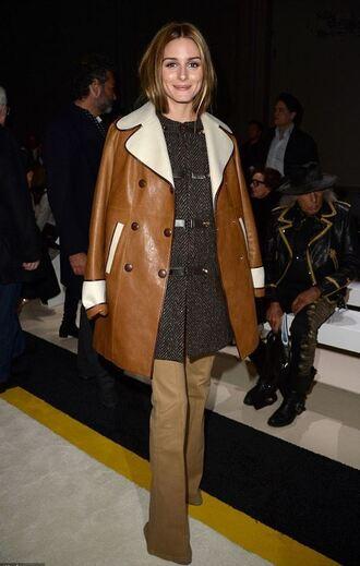 coat leather jacket leather olivia palermo pants