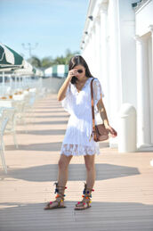 to be bright,blogger,dress,shoes,bag,white dress,mini dress,lace up,lace dress,white lace dress,summer dress,lace up flats,flats