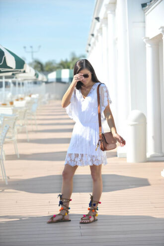to be bright blogger dress shoes bag white dress mini dress lace up lace dress white lace dress summer dress lace up flats flats